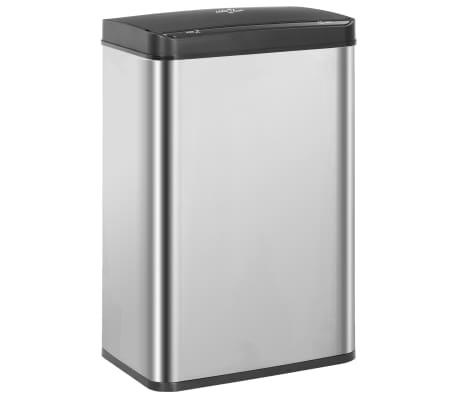 vidaXL Prullenbak met automatische sensor 60 L RVS zilver en zwart[2/11]