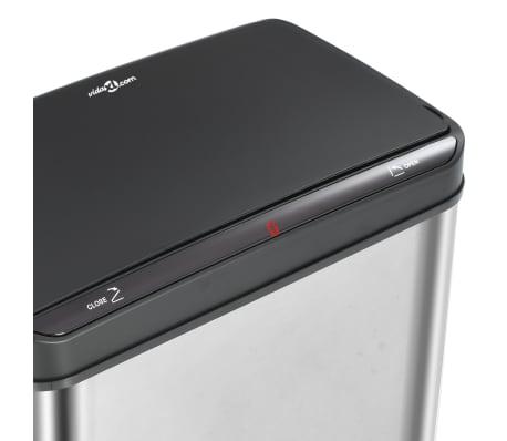 vidaXL Poubelle à capteur automatique Argenté et noir Inox 60 L[8/11]