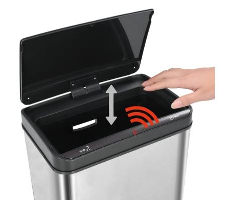 vidaXL Poubelle à capteur automatique Argenté et noir Inox 60 L[9/11]