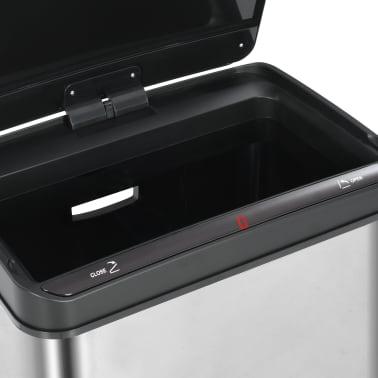 vidaXL Poubelle à capteur automatique Argenté et noir Inox 60 L[10/11]