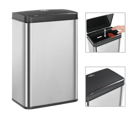 vidaXL Coș de gunoi senzor automat argintiu&negru 60 L oțel inoxidabil[1/11]
