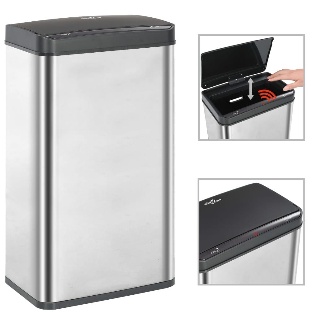 Odpadkový koš s automatickým senzorem stříbrný černý nerez 70 l