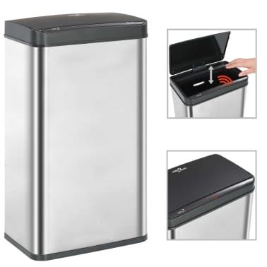 vidaXL Coș de gunoi senzor automat argintiu&negru 70 L oțel inoxidabil[1/11]
