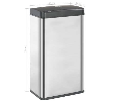 vidaXL Coș de gunoi senzor automat argintiu&negru 70 L oțel inoxidabil[11/11]