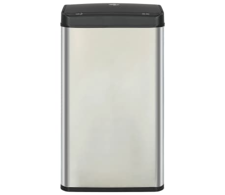 vidaXL Coș de gunoi senzor automat argintiu&negru 70 L oțel inoxidabil[3/11]