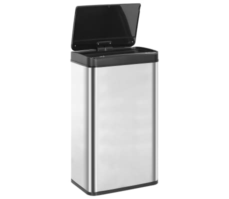 vidaXL Coș de gunoi senzor automat argintiu&negru 70 L oțel inoxidabil[6/11]