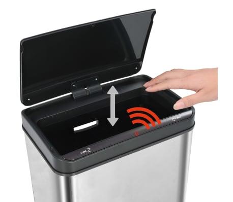 vidaXL Coș de gunoi senzor automat argintiu&negru 70 L oțel inoxidabil[9/11]