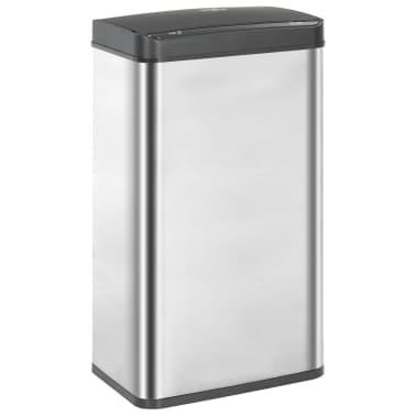 vidaXL Coș de gunoi senzor automat argintiu&negru 70 L oțel inoxidabil[2/11]