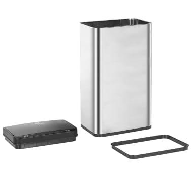 vidaXL Coș de gunoi senzor automat argintiu&negru 70 L oțel inoxidabil[7/11]