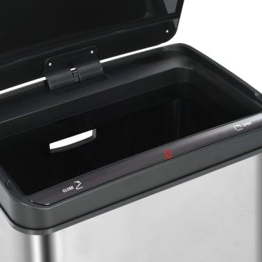vidaXL Coș de gunoi senzor automat argintiu&negru 70 L oțel inoxidabil[10/11]