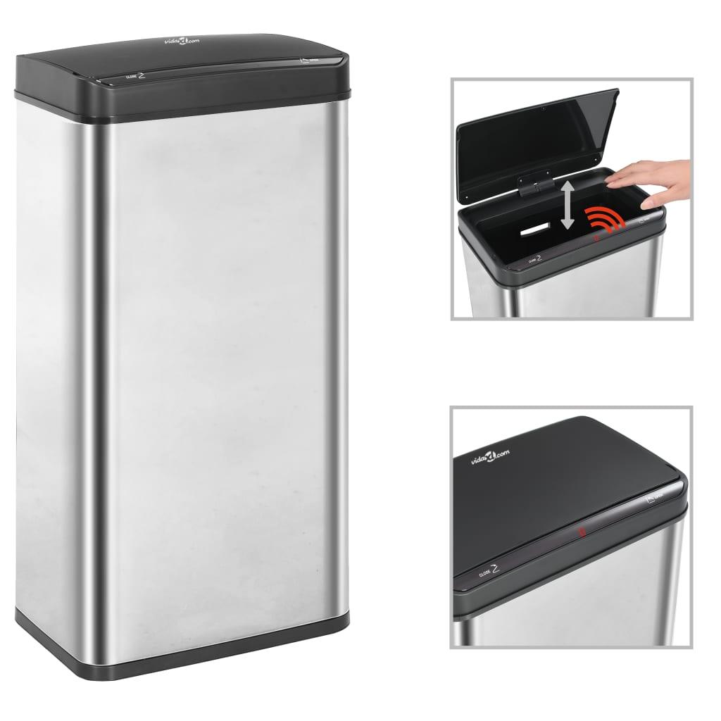Odpadkový koš s automatickým senzorem stříbrný černý nerez 80 l