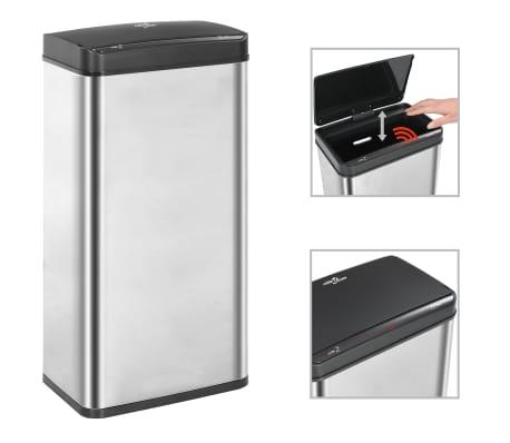 vidaXL Coș de gunoi senzor automat argintiu&negru 80 L oțel inoxidabil[1/11]
