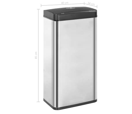 vidaXL Coș de gunoi senzor automat argintiu&negru 80 L oțel inoxidabil[11/11]