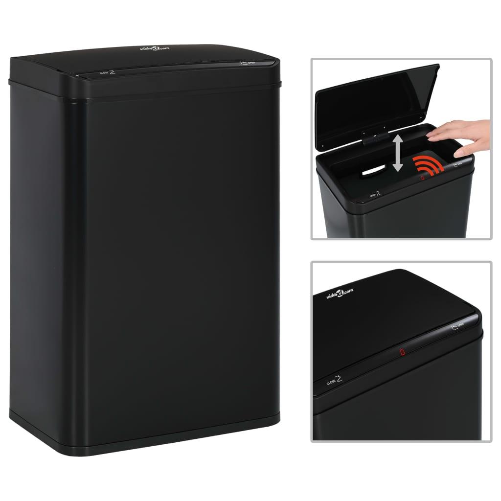 vidaXL Coș de gunoi cu senzor automat, negru, 60 L, oțel poza vidaxl.ro