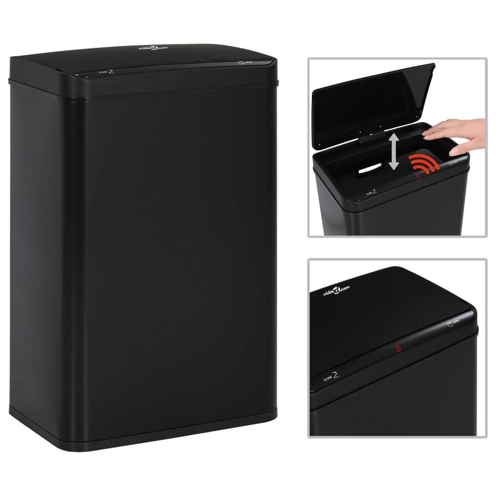 vidaXL Odpadkový koš s automatickým senzorem černý ocel 60 l