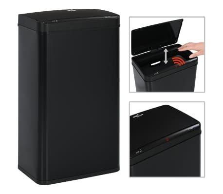 vidaXL Coș de gunoi cu senzor automat, negru, 70 L, oțel[2/11]