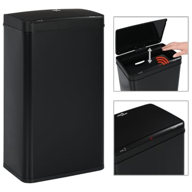 vidaXL Coș de gunoi cu senzor automat, negru, 70 L, oțel[1/11]