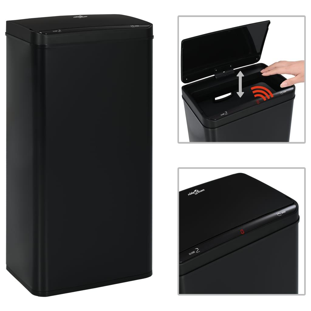 vidaXL Coș de gunoi cu senzor automat, negru, 80 L, oțel vidaxl.ro