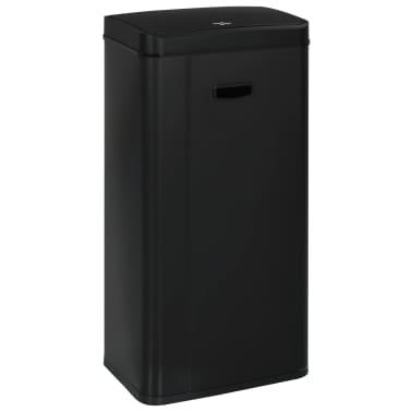 vidaXL Coș de gunoi cu senzor automat, negru, 80 L, oțel[3/11]