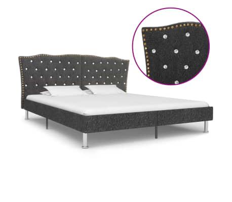 vidaXL Cadru de pat, gri închis, 180 x 200 cm, material textil