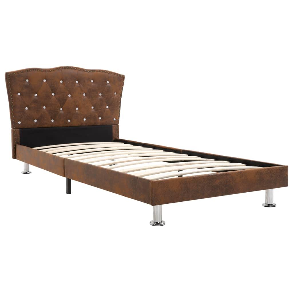 vidaXL Bedframe kunstsuède bruin 90x200 cm