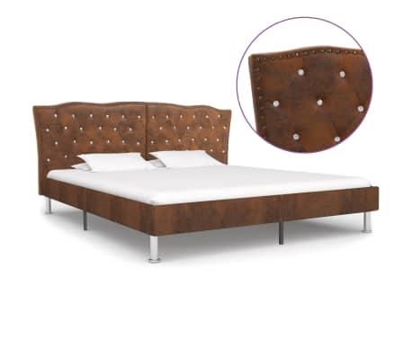 vidaXL Cadru de pat, maro, 180 x 200 cm, piele întoarsă artificială