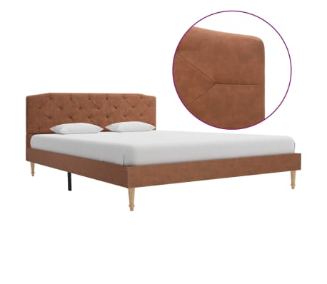 vidaXL Cadru de pat, maro, 140 x 200 cm, material textil