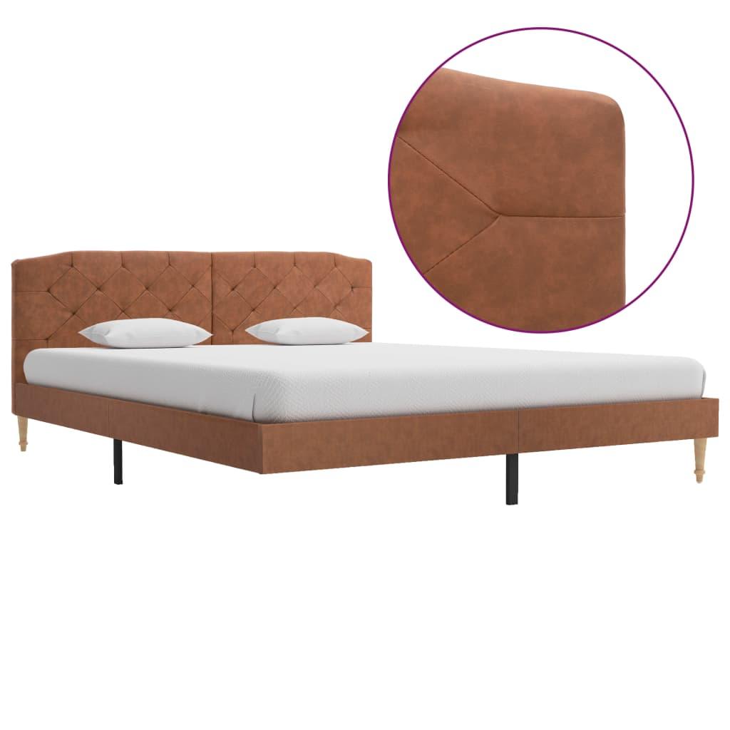 vidaXL Cadru de pat, maro, 160 x 200 cm, material textil poza 2021 vidaXL