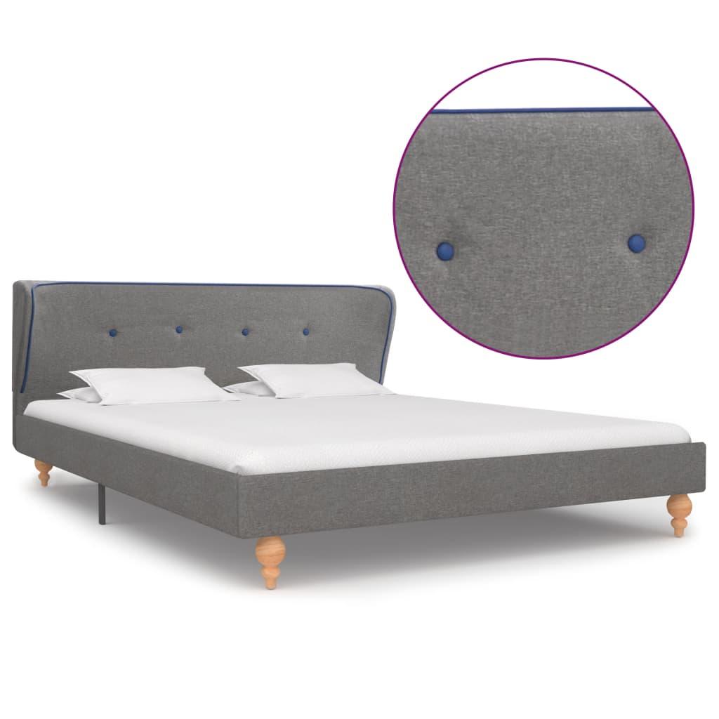 vidaXL Cadru de pat, gri deschis, 140 x 200 cm, material textil imagine vidaxl.ro