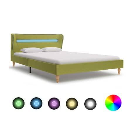 vidaXL Bedframe met LED stof groen 120x200 cm