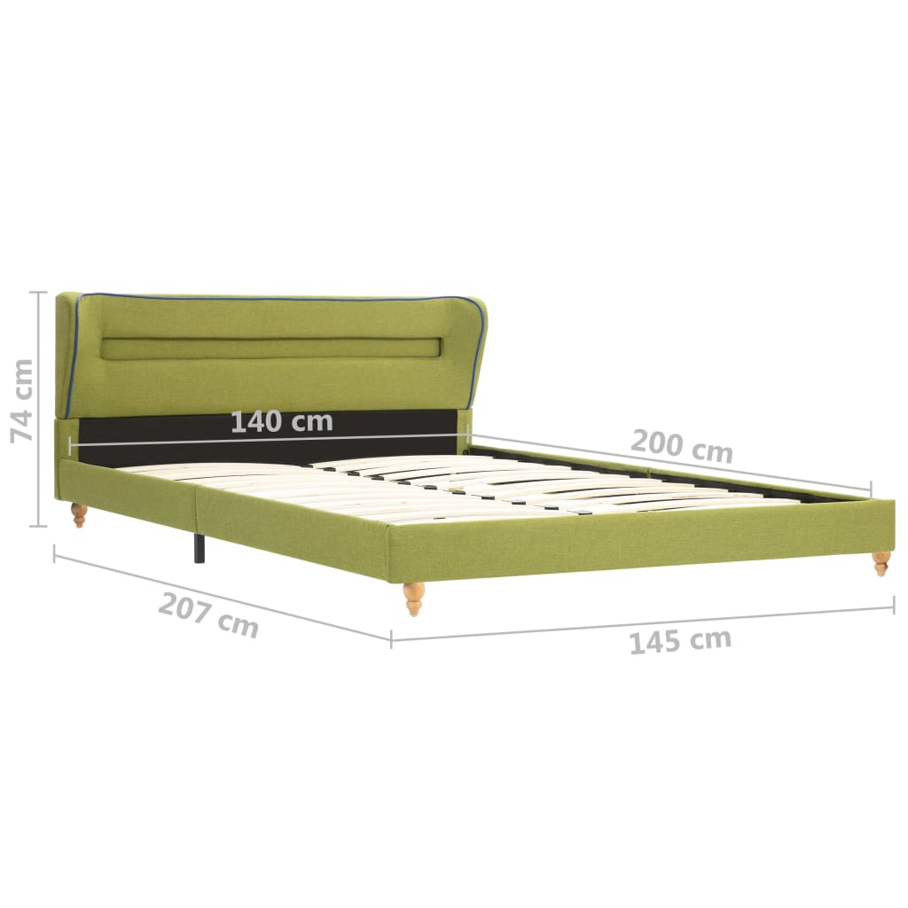 vidaXL Bedframe met LED stof groen 140x200 cm