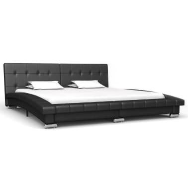 vidaXL Cadre de lit Noir Similicuir 200 x 160 cm[2/9]