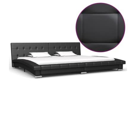 vidaXL Cadru de pat, negru, 200 x 180 cm, piele artificială
