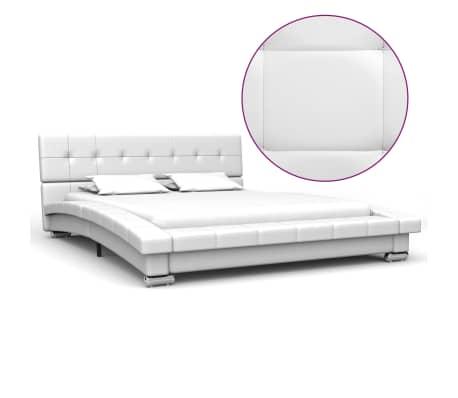 vidaXL Cadru de pat, alb, 200 x 140 cm, piele artificială