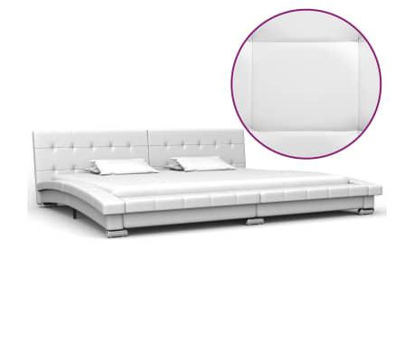 vidaXL Cadru de pat, alb, 200 x 180 cm, piele artificială