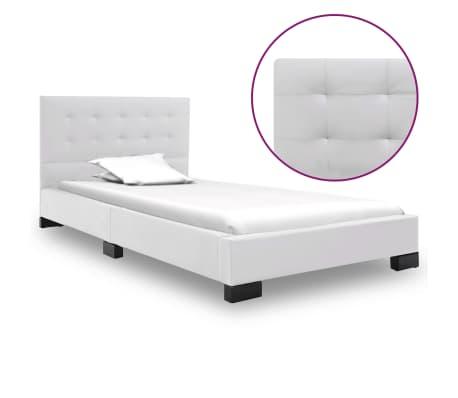 vidaXL gultas rāmis, 120x200 cm, balta mākslīgā āda