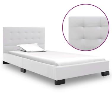 vidaXL Cadre de lit Blanc Similicuir 120 x 200 cm[1/7]