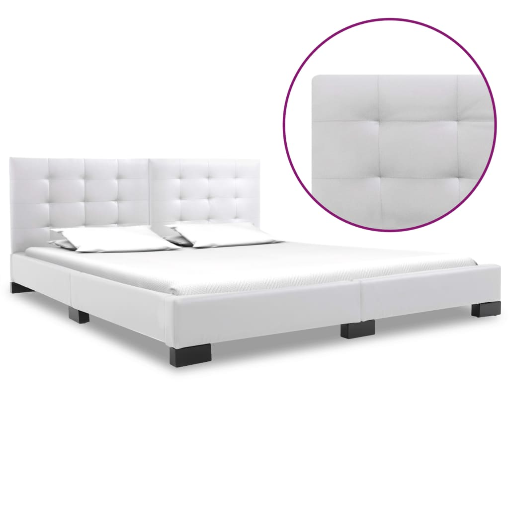 vidaXL Πλαίσιο Κρεβατιού Λευκό 160 x 200 εκ. από Συνθετικό Δέρμα