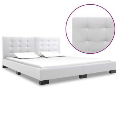 vidaXL Cadre de lit Blanc Similicuir 160x200 cm[1/5]