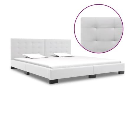 vidaXL Cadru de pat, alb, 180 x 200 cm, piele artificială