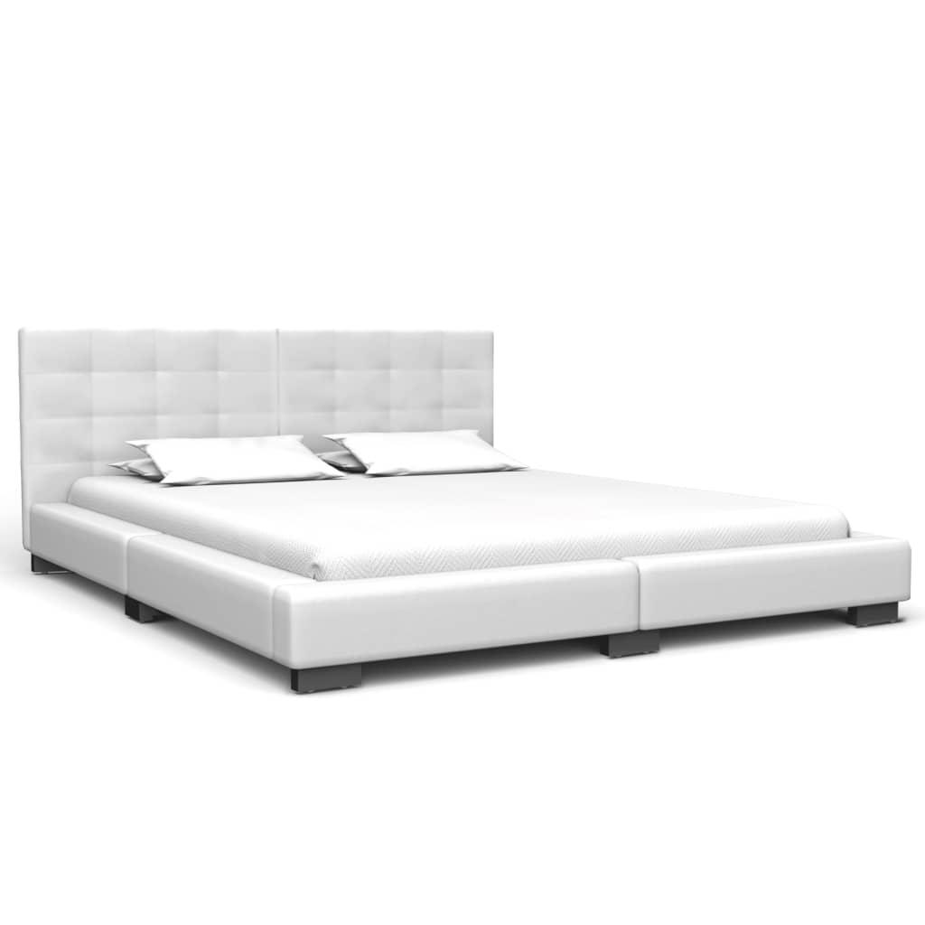 vidaXL Bedframe kunstleer wit 150x200 cm