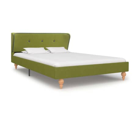 vidaXL Bed Frame Green Fabric 106x203 cm  King Single