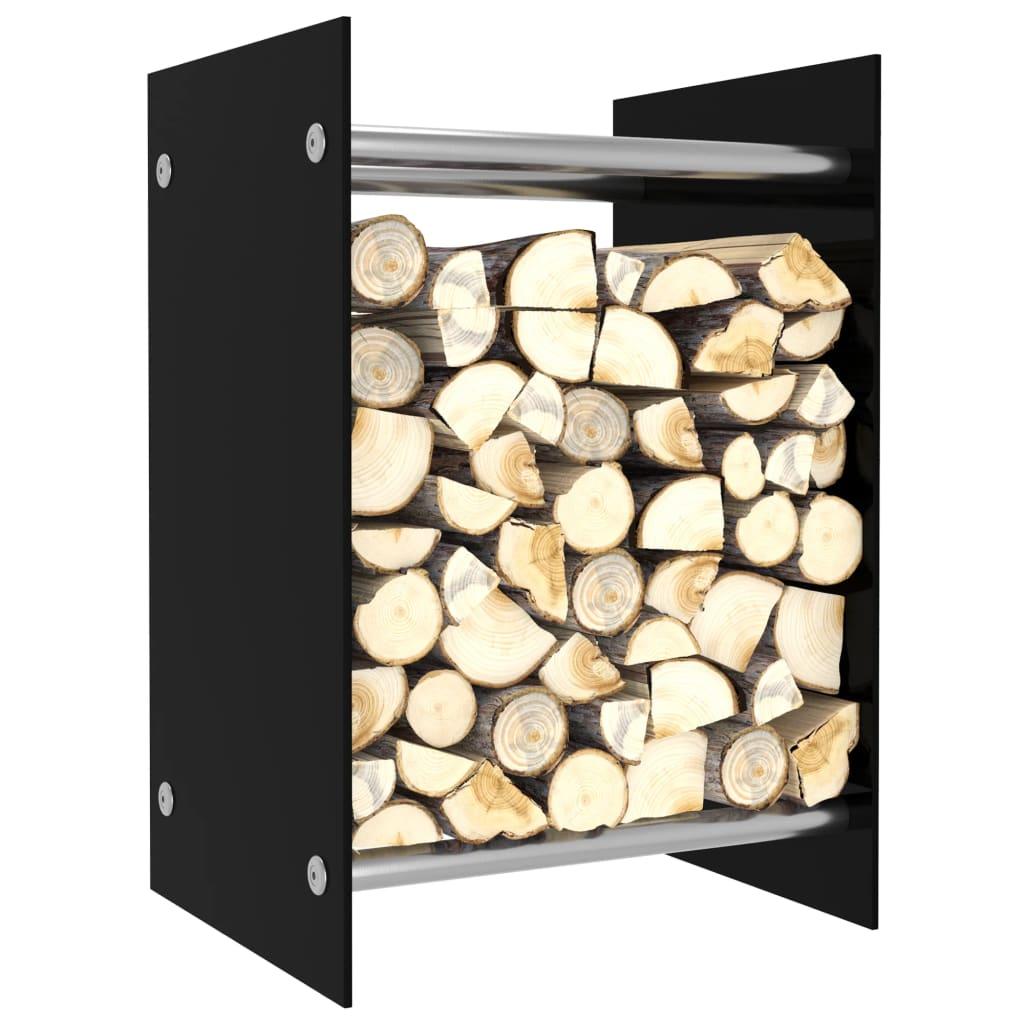 vidaXL Rastel lemne de foc, negru, 40 x 35 x 60 cm, sticlă imagine vidaxl.ro