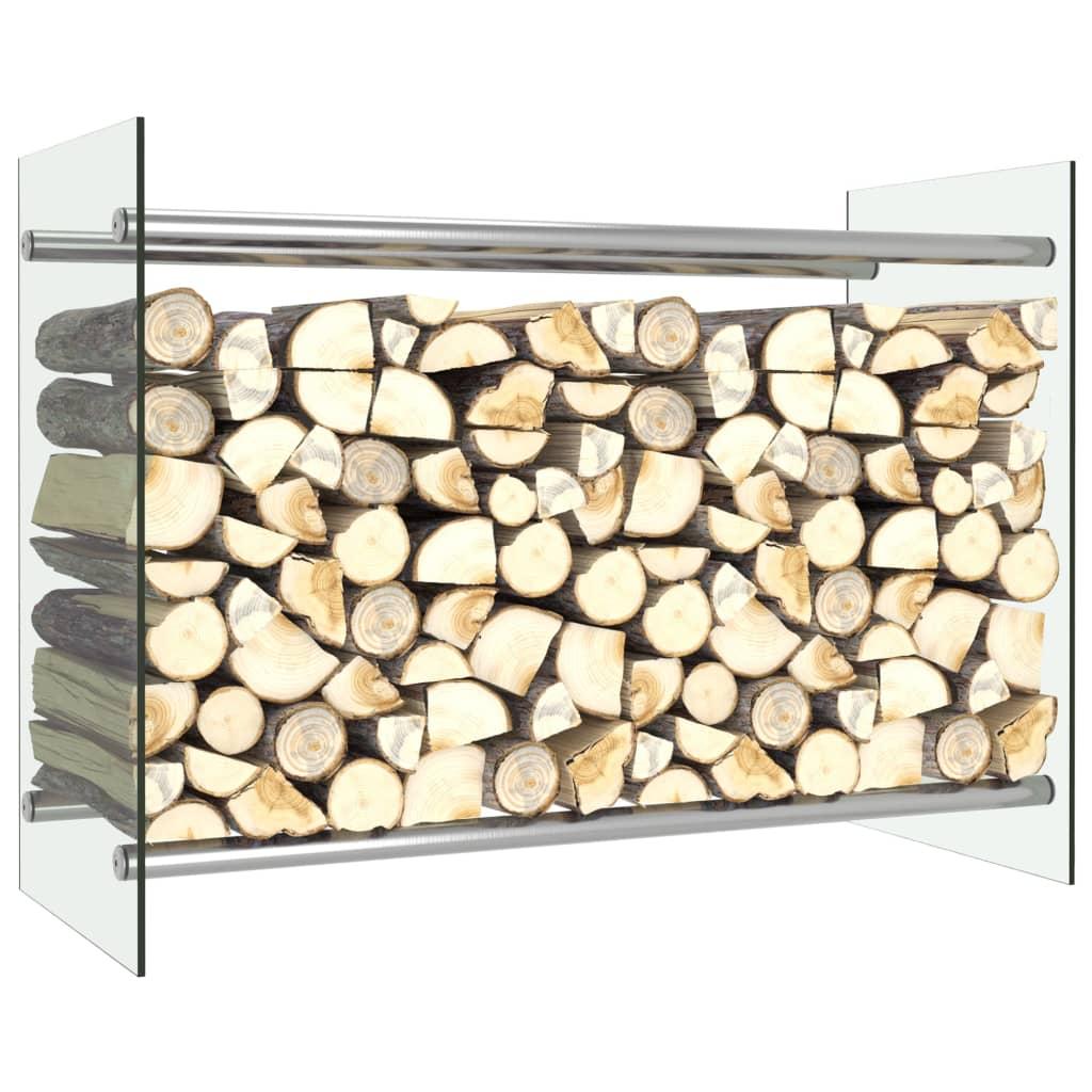 vidaXL Rastel lemne de foc, transparent, 80 x 35 x 60 cm, sticlă imagine vidaxl.ro