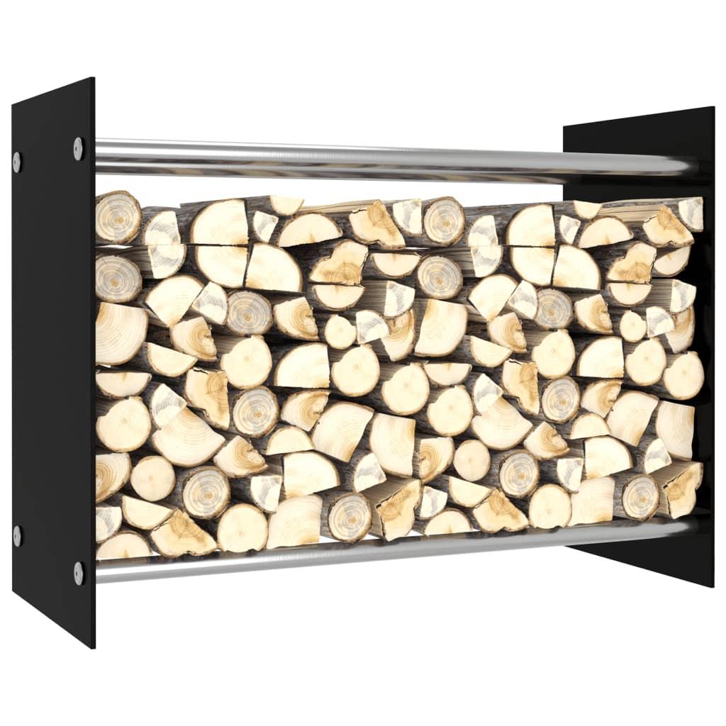 vidaXL Rastel lemne de foc, negru, 80 x 35 x 60 cm, sticlă imagine vidaxl.ro