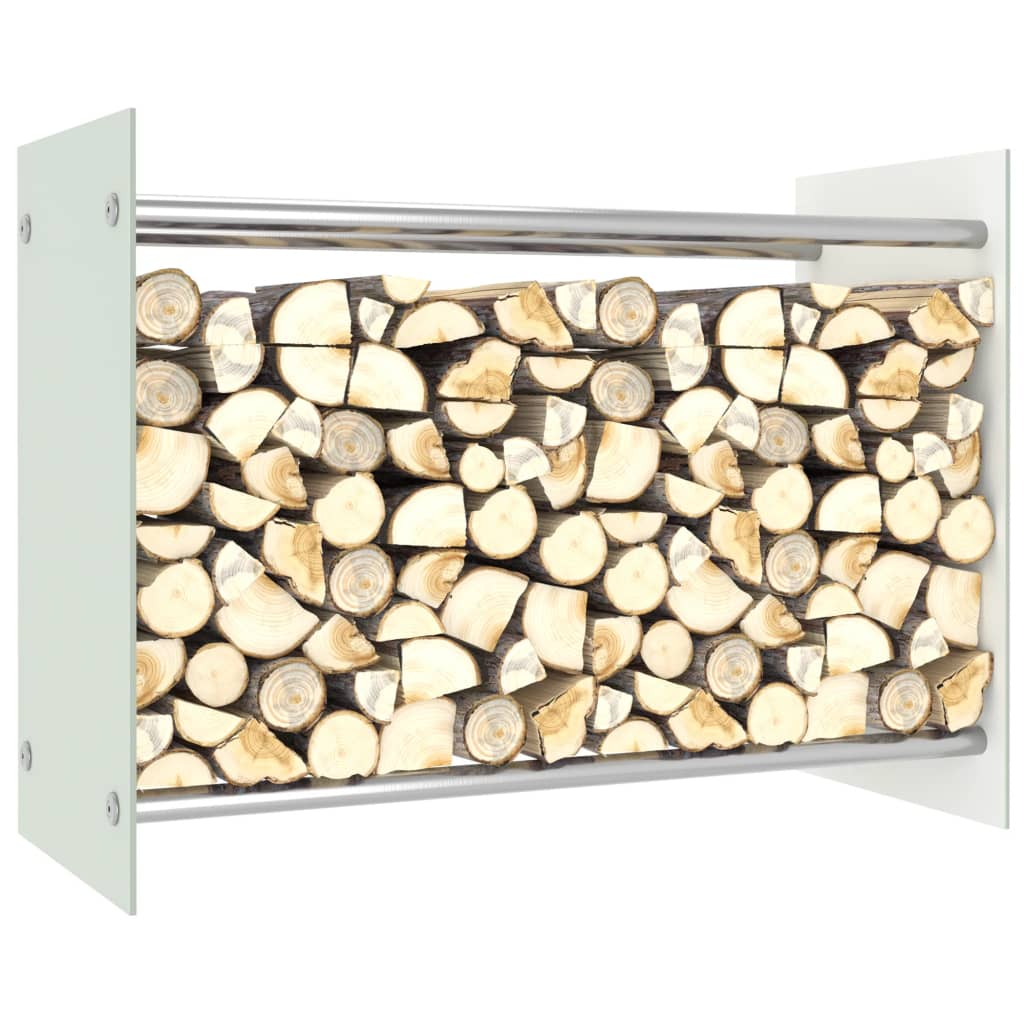 vidaXL Rastel lemne de foc, alb, 80 x 35 x 60 cm, sticlă imagine vidaxl.ro