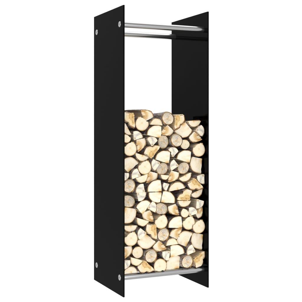 vidaXL Rastel pentru lemne de foc, negru, 40 x 35 x 120 cm, sticlă imagine vidaxl.ro