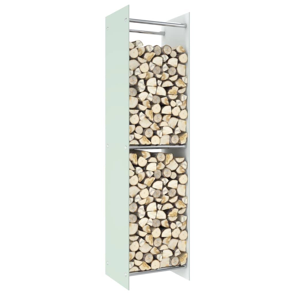 vidaXL Rastel lemne de foc, alb, 40 x 35 x 160 cm, sticlă imagine vidaxl.ro