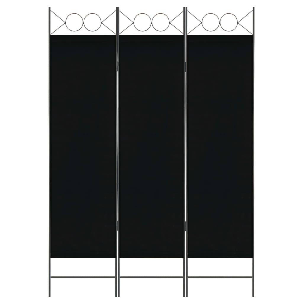 vidaXL Paravan de cameră cu 3 panouri, negru, 120 x 180 cm imagine vidaxl.ro