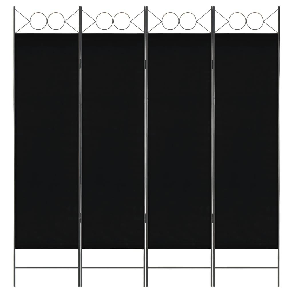 vidaXL 4dílný skládací paraván černý 160 x 180 cm